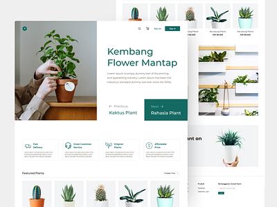 Plant shop - Online Shop Landing Page design ux ui website landing page daily ui website design minimalist clean design plant website ecommerce design ecommerce shop