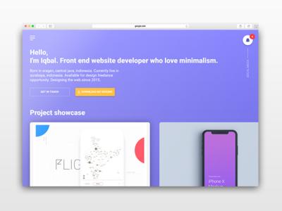 One page material design portfolio
