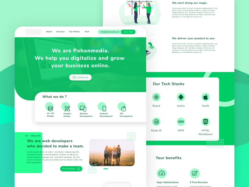 Pohonmedia - Portfolio Website work web development saas design landing page dashboard card minimal website flat icon branding app ux logo ui design illustration