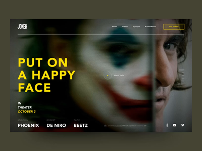 Joker The Movie Preview Animation minimalism typography promo animation joker webdesign website web interaction ux ui design simple