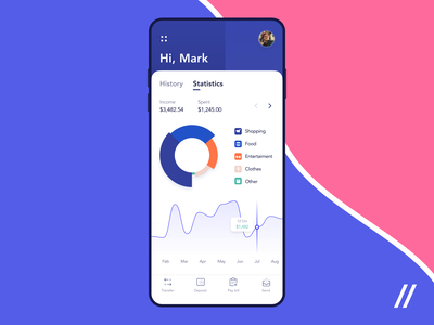 Banking App Design Concept stories statistic insurance income history billing banking wallet balance app ui ux