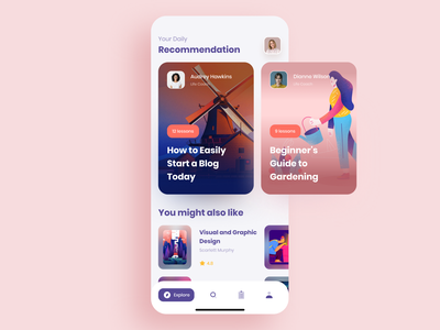 Online Education & Teaching Courses App figma ux ui teaching online product cuberto recommendations design class coaching education course meeting chat video mobile