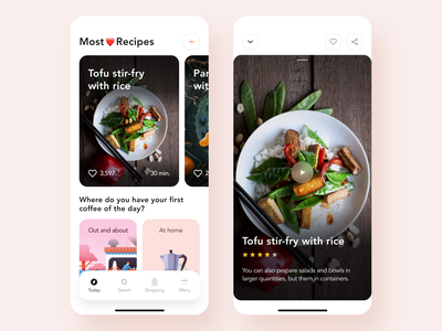Recipe App mobile ux ui discover shopping cuberto search planner rating quiz recipe book video tutorial meal food favorites design cooking