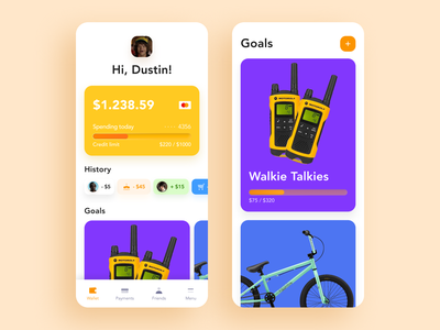 Banking App for Kids app figma ux ui wallet savings product payments mobile kids history goals deposit card banking transfers money app