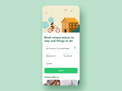 House Renting App For Travelers simple design ui ux travel search purrweb renting outcrowd mobile location hotel guests filter figma app design booking app