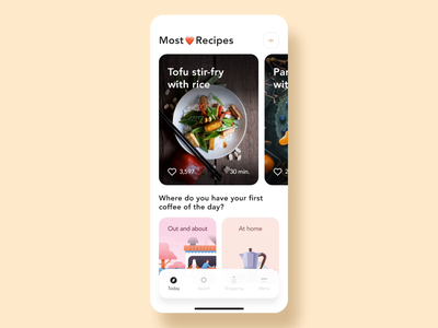 Recipe App tutorial animation interaction ux ui cuberto purrweb recipes mobile kitchen food design cooking video stories product chief app