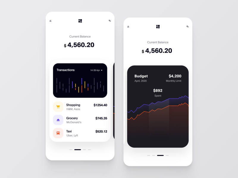 Finance App simple ios figma ux ui cuberto react native mobile design chart budget product finance balance banking app