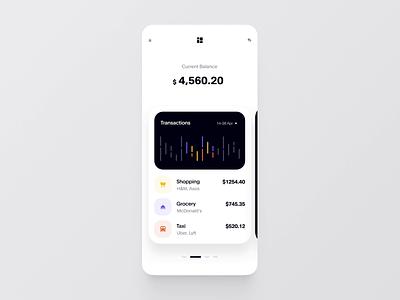 Finance App Animation ios finance figma product statistic slider chart budget banking animation interaction ux ui purrweb cuberto balance app