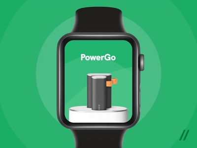 Apple Watch Power Bank Rental App ux ui timer sharing pin card payment map animation powerbank rental location design apple watch cuberto figma apple app