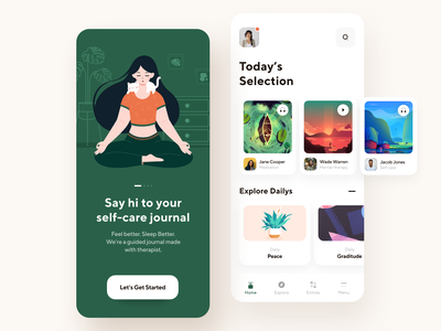 Self-Care Mobile App ui therapy selection meditations provider physiotherapy patient onboarding mvp mobile mental health meditation medicine help healthcare health doctor clinic app design app