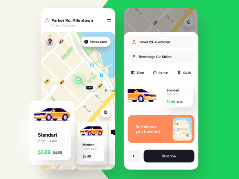 Car Rental Mobile App Design Concept car sharing ride hailing ride sharing rental app mobile ux ui interaction taxi booking app taxi app taxi map card automotive auto app design app animation