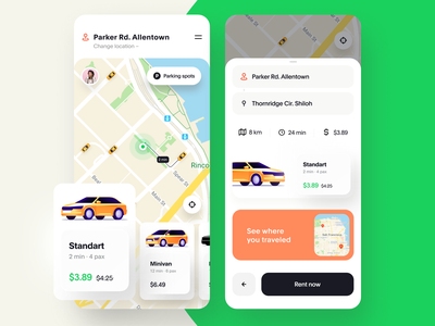 Car Rental Mobile App Design Concept car sharing ride hailing ride sharing rental app mobile ux ui interaction taxi booking app taxi app taxi map card automotive auto app design app animation