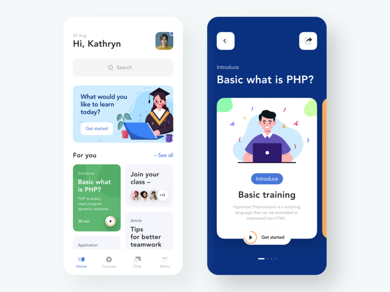 Learning Platform Mobile App product student study lesson knowledge exam courses chat personal learning platform learning app learning education app education figma simple design ux ui app