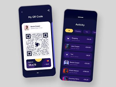 Digital Wallet App Design Concept wallet finance clean interface qrcode dark mobile app mobile exchange design fintech graphic online banking ui ux bank payment transaction