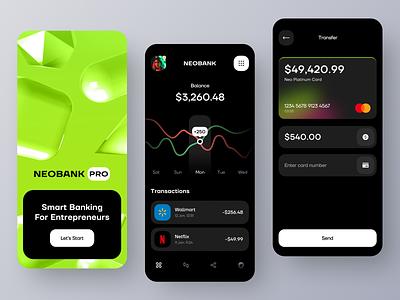 Neobank Mobile App Concept ux ui ronas it mvp app mobile app app design mobile mobile app design mobile ui neobank banking banking app fintech app fintech onboarding card balance transaction graphs