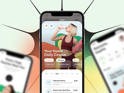 Yoga app ilya sablin app design ui ux mobile online yoga mvp startup illustration mindfulness relaxation relax fitness wellness yoga app breath health yoga practice