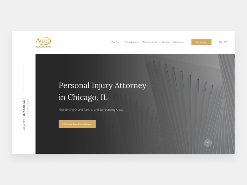 Personal Injury Law Firm Home Page homepage design injury personal brand webdesign website web ui design simple