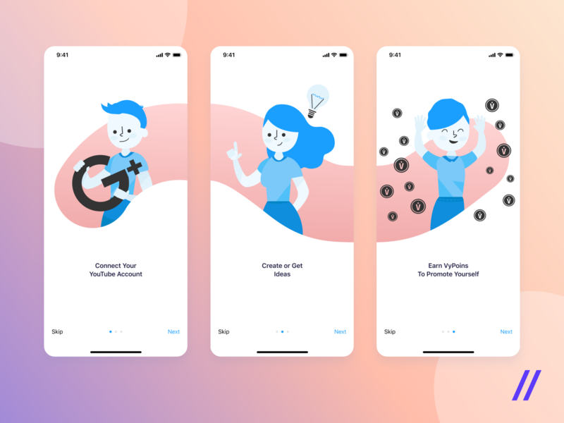 Illustrated Characters for Onboarding Flow cuberto blue video app ui  ux social media mobile illustration ideas onboarding flow design characters adobe xd bloggers