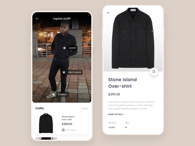 Clothes Scanning App cuberto minimal simple design clothing brand purchases bot e-commerce online shop instagram bloggers ios mobile figma app