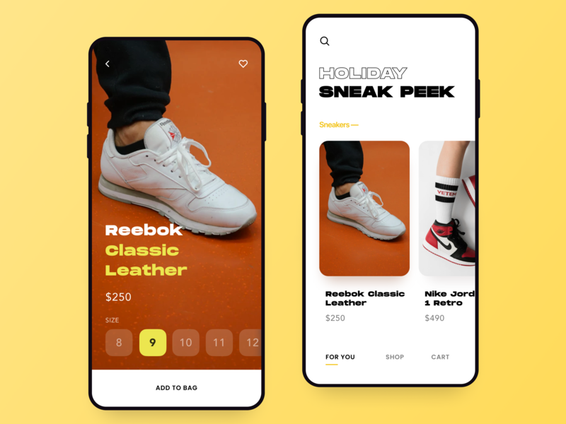 Sneakers Marketplace app interaction simple design ui  ux store shoes retail mobile iphone ios ecommerce cart artificial intelligence ar shop sneakers reebok nike adidas