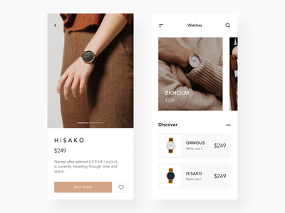 Watch Shop Redesign shopify favorite product card discover online ecommerce watch store payment cart shopping shop ios figma mobile app ux ui design simple