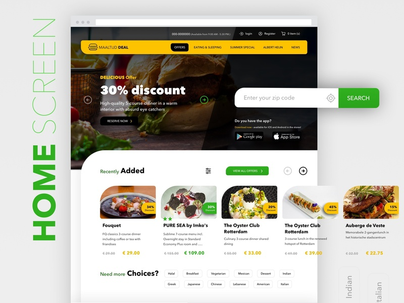 Maaltijd Deal web app web design ux ui typography icon branding discount food restaurant white green yellow responsive web design website design website