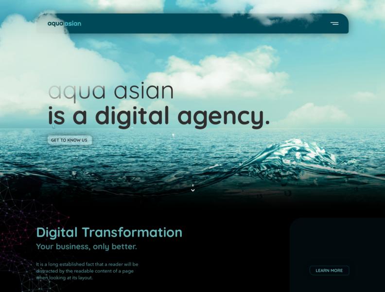Aqua Asian website visual design web app agency typography web branding design application ux