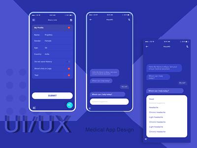Medical App chatBot graphic design vector illustration adobe xd figma