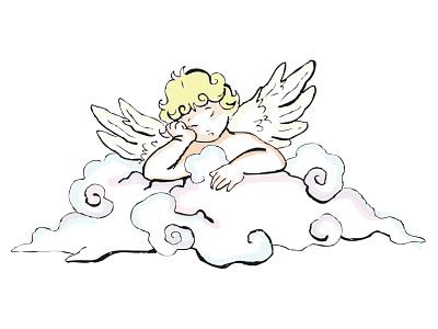 Angel illustration line art childrens book drawing