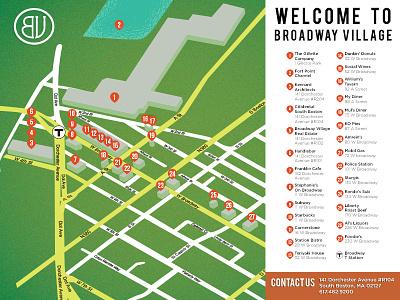 Map Mailer map illustrator southie broadway village south boston