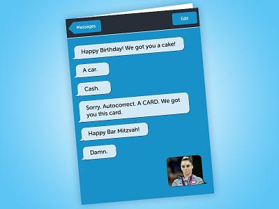 Birthday Card birthday text iphone funny lol illustration autocorrect birthday card