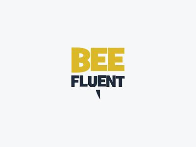 BeeFluent logo bee fluent sms text sting identity bee logo