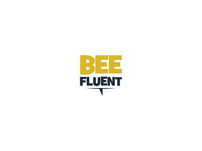 BeeFluent logo mobile app sms text language bee illustrator logo