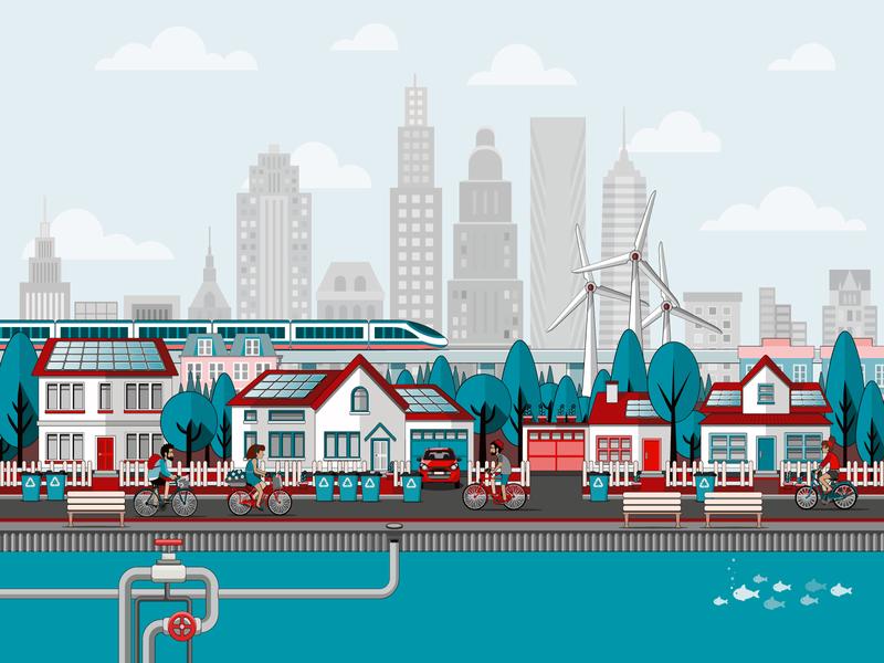 BSI Improving Your Environmental Management Illustration environmental design environment design vector illustrator cc illustration