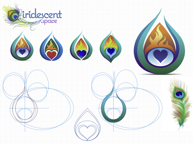 Iridescent logo workup sculpted flat branding logo illustrator cc design vector illustration