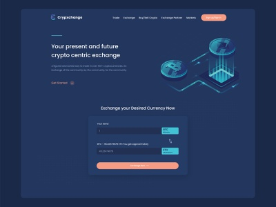 Crypto currency Exchange Landing Page currency dark ui dailyui design payment icon exchange wallet bitcoins landingpage minting mining coins mobile app webdesign website blockchain cryptocurrency