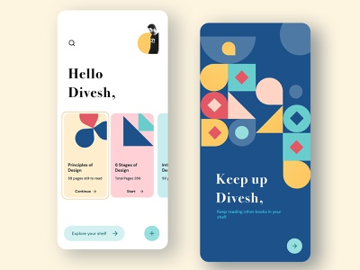 My Book Shelf type cards geometrical shapes website mobile patterns illustration dailyuichallenge ux ui icon app dailyui design book cover books shelf reading book