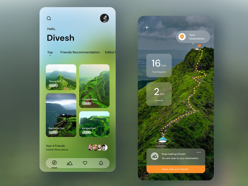 Trekking Experience on Forts in Pune website web mobile neumorphic neumorphism dashboard ux ui icon design dailyui app traveling places blurry blur navigation trekking trek travel