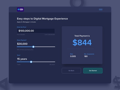 Calculator for Digitial Mortgage Experience