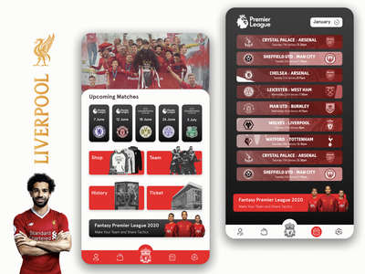 Liverpool FC - App Design Concept premier league red design concept concept application app design app ui app ynwa salah mo salah soccer app soccer football app football club football liverpool app liverpool fc liverpoolfc liverpool