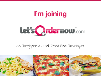I'm Joining Let's Order Now lon joining work announcement designer front-end developer