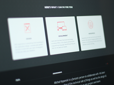 Here's What I Can Do For You portfolio dark clean simple icons services footer