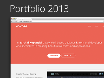 Michal Kopanski — Portfolio 2013 portfolio orange clean flat open sans 2013 responsive