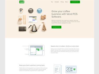 VendHQ example page layout web page illustration line drawing vend startup flat ipad speed flatlay studio