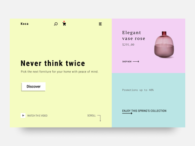 Koca - furniture website design product design design flat ux ui minimalist minimal ecommerce web design website web