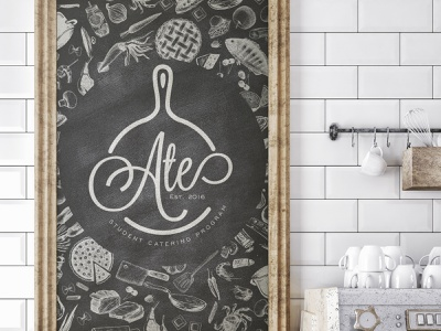 A.T.E. Catering Logo frying pan pan ate chalkboard illustration brand type typography logo design design logo branding caterer restaraunt food catering brand and identity
