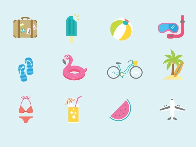 Summer Icons beach icon brand and identity illustration branding tropical vacation travel summertime summer