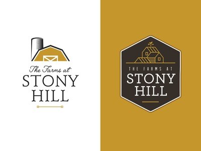 The Farms at Stony Hill brand developer real estate rustic hills hill stony hill logo design illustration logo barn farm logo farmhouse farm branding brand and identity logo concepts