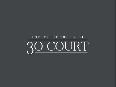 Residences At 30 Court real estate developer brand typography logo design logo branding brand and identity