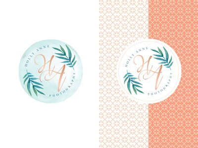 Holly Anne Photography, Secondary Logo & Brand Pattern wedding photographer palm leaf palm leaves hawaii photographer logo photographer monogram logo seal secondary mark secondary logo pattern illustration logo design logo branding brand and identity